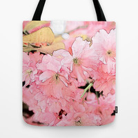 Art style pink cherry flowers, floral photo art. Tote Bag by NatureMatters