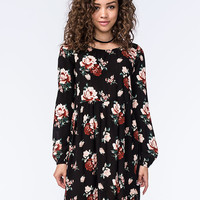 Chloe & Katie Floral Babydoll Dress Black Combo  In Sizes