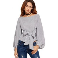 Fashion Women Off Shoulder Blouse Long Sleeve Striped Tops With Bowknot