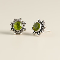 Round Silver Peridot Stud Earrings - World Market