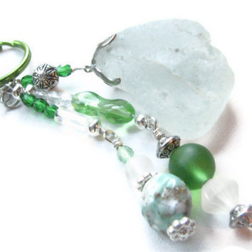 Black Friday Cyber Monday Mint Green Beaded Keychain Key Fob Seaglass Keyring Sea Glass Accessories