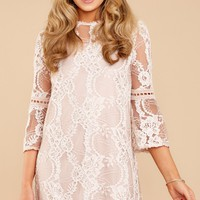Current Obsession Beige Lace Dress