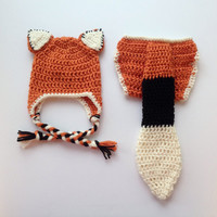 Newborn Fox Outfit, Baby Christmas Gift, Baby Fox Outfit, Fox Hat and Tail, Baby Fox Photo Prop, Baby Fox Outfit, Crochet Fox, Orange Fox
