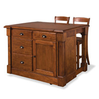 Home Styles Furniture 5520-949 Aspen Rustic Cherry Kitchen Island and Two Bar Stools