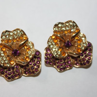 Vintage Boucher Pansy Earrings Rhinestone Designer 1950s  Jewelry Signed Numbered