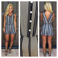 We Mean Business Striped Romper