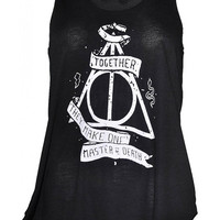 Harry potter master of death print top vest womens ladies tshirt