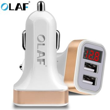 OLAF Dual USB Car Charger LED Digital Display GPS Auto Fast Charge Adapter USB Chargers For Samsung Xiaomi Tablet Car-Charger