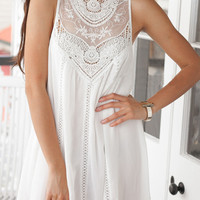 White Sleeveless With Lace Dress - Sheinside.com