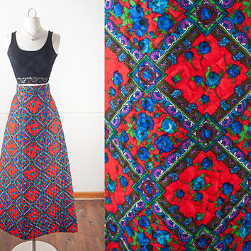 1960s LANZ Psychedelic Skirt / Hippie Skirt / High Waisted Maxi Skirt / Bohemian Floral Print Skirt / Quilted Maxi Skirt / Vintage 70s Skirt