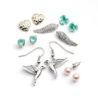 Mudd Two Tone Simulated Crystal and Simulated Pearl Bird Drop and Stud Earring Set