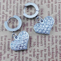 Pairs   2pcs Love heart   Gothic Rock Clip Ring Earrings , Stainless Steel  Ear studs  , Bride wedding gift ,  Earing Stud Piercing,