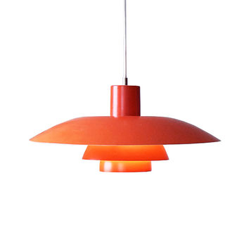 Danish Modern Vintage Pendant Light - Orange