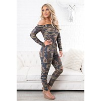 Now You See Me Camo Jumpsuit (Khaki)