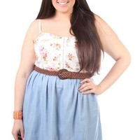 Plus Size Printed Lace Belted Chambray Denim Dress