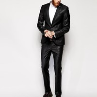 Noose & Monkey | Noose & Monkey Suit Trousers With Tonal Paisley Print In Skinny Fit at ASOS
