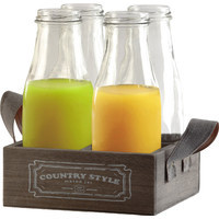 Circle Glass Country 5 Piece Milk Bottles and Tray Set & Reviews | Wayfair