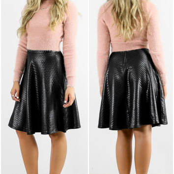 The Memory Is Mine High Waisted Black Quilted Liquid Swing Skirt