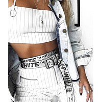 OFF-WHITE Hot Sale Women Men Black Word Canvas Belt Silver&White