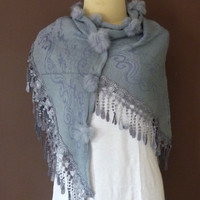 Lace Scarf  Triangle scarf  Cowl Scarf Women Light Grey Rose Headband Cowl Scarf Lace Edge  Lace Scarf Best Sellin item scarf gift cool