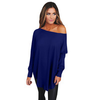 3 colors shirt  women new arrival autumn winter causal loose  long sleeve slash neck solid fashion t shirts top clothing