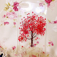 Handmade Real Natural Pressed Flower iphone 6 6 plus case iphone 4s 5 5s 5c case cover samsung galaxy s5 note 2 note 3 case red tree