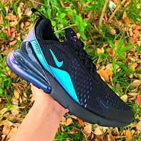 Bunchsun Nike Air Max 270 Fashion Men Casual Air Cushion Sport Running Shoes Sneakers Black&Blue