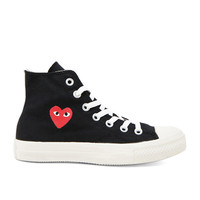 Comme Des Garcons PLAY Converse High Top Canvas Sneakers in Black & Red | FWRD
