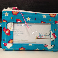 ID Wallet, Coin Purse, Zipper Closure, Made With Hello Kitty print