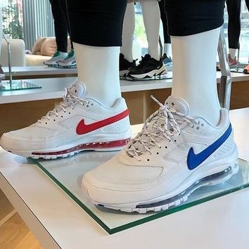 "Skepta x Nike Air Max 97/BW ""Whtie Red Blle"" Retro Running Shoes Sneaker AO2113-100"