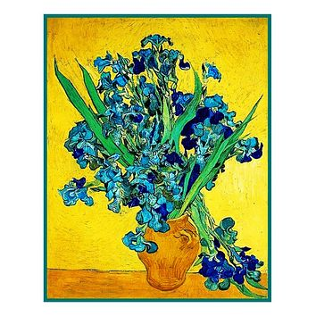 Vase of Irises with Yellow Background inspired by Impressionist Vincent Van Gogh's Painting Counted Cross Stitch Pattern