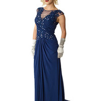 Sapphire Blue Beaded Lace Ruched Chiffon Gown