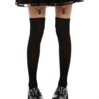 Spider Faux Thigh High Tights