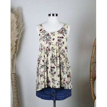 Delightful Flowy Floral Top in Yellow