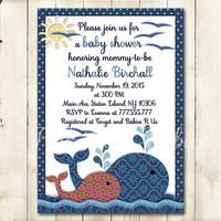 Nautical Baby shower printable invitation baby boy digital invite personalized whales invitation see life DIY birthday card blue gray red