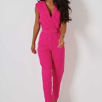 Shania Pink Sleeveless Jumpsuit | Pink Boutique