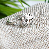 Oak Tree Silver Ring Sterling Ring .925 Silver Ring Personalized Ring