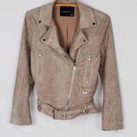 Fawn Suede Moto Jacket