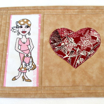 Mug Rug, Quilted Tan Mug Rug, Snack Mat, Breast Cancer Awareness, Gift For Her, Quiltsy Handmade
