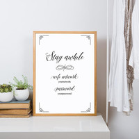 Stay awhile sign, Poster printable, Guest wifi printable sign, Wifi sign / custom size & color, Guest room wall art, Wifi password printable