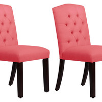 Coral Leo Tufted Side Chairs, Pair, Side Chairs