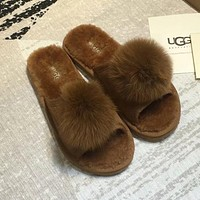 UGG Women Fashion Wool Slippers Shoes AC Slippers Four Seasons Suitable
