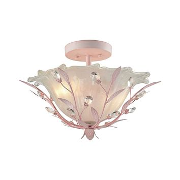 Circeo 2-Light Semi Flush in Light Pink with Frosted Hand-formed Glass