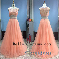 Two Piece Prom Dress, Two Piece Prom Dresses 2016,Two Piece Evening Dress
