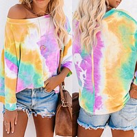 2020 autumn and winter new long-sleeved loose tie-dye gradient color printed T-shirt