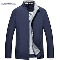 Casual Men Jackets And Coats Male Jackets Solid Color Stand Collar Coats For Men's Zipper Outerwear Coat