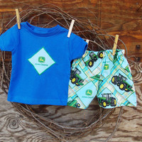 Baby Boys Clothes Deere Tractor applique T shirt, and shorts 18 months, green, blue