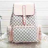 Louis Vuitton  LV Backpack Women man Bag White Pink