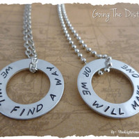 Long distance relationship His & Her Necklaces and Charms - We will find a way