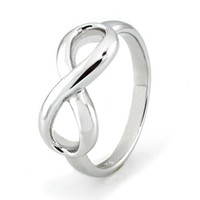 TIONEER Sterling Silver Iconic Classic Infinity Ring, Size 6.5